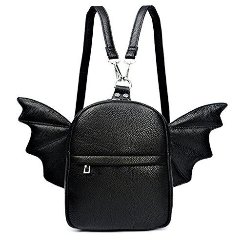 Women Fashion Mini Backpack | Detachable Bat Angel Wing Shoulder Bag ()