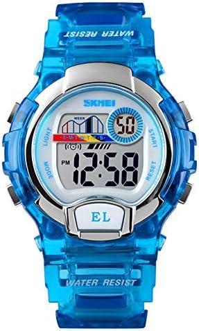 子供用 スポーツ ボーイズ ガールズ 学生 アラーム 日付 LED 電子 デジタル 防水 多機能腕時計 ブルー