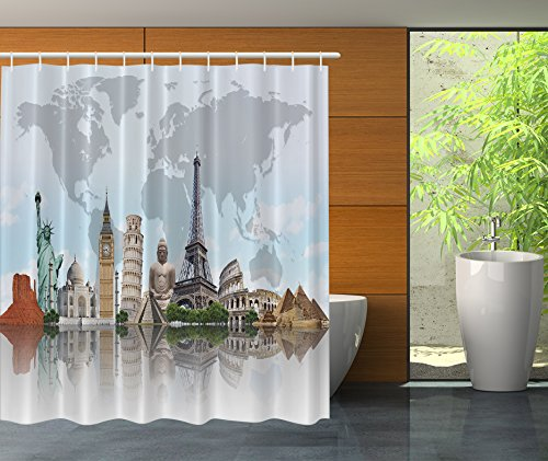 Ambesonne Shower Curtain City Decor by, Cityscape World Monuments 7 Wonders Eiffel Pisa Big Ben Decor Architecture Art Print Polyester for Bathroom, 69×70 Inches, Blue Gray Green Beige and Tan