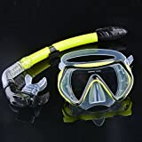 Professional Scuba Diving, Diving Mask Snorkel Glasses Set Silicone Swimming Fishing Pool Equipment (Yellow)