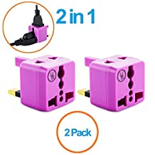 Yubi Power 2 in 1 Universal Travel Adapter with 2 Universal Outlets - Built in Surge Protector - Purple 2 Pack - Type G for United Kingdom, England, Hong Kong, Ireland, Scotland, Saudi Arabia, & more