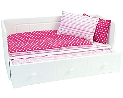 Amazoncom 18 Inch Doll Furniture White Day Bed With Trundle And