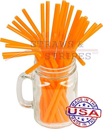 100 Flexible Drinking Straws 8 1/4 Inch X 0.23 Inch (Orange)