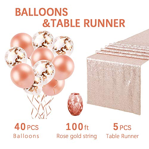 5-Pack Champagne Blush 12x108 Inches Sparkly Sequin Table Runners and Confetti Balloons and Rose Gold Latex Balloons as gifts for Wedding Reception and Party Supplies by QueenDream