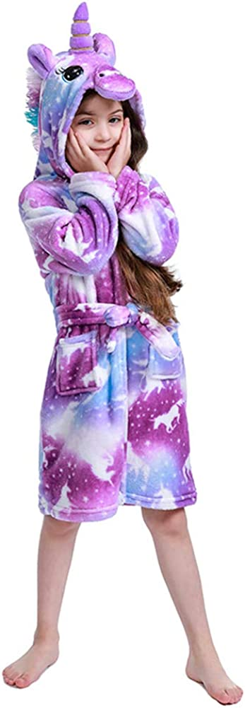 2020 Newest Unicorn Bathrobe for Girls, Premium Flannel Hooded Robe-Unicorn Gifts: Clothing