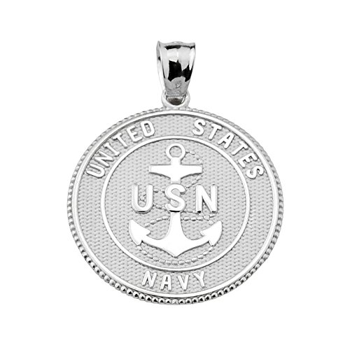 Sterling Silver US Navy Pendant (Sterling Silver Navy Charms)