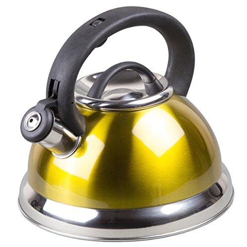 Creative Home Alexa 3.0 Whistling Tea Kettle, Metallic Yellow Gold