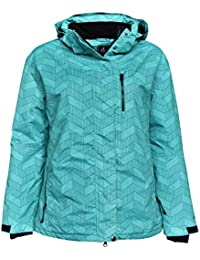 Womens Plus Size Extended Insulated Bevel Snow Ski Jacket