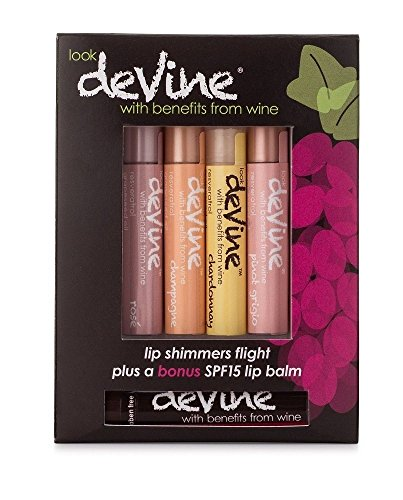 deVine Beauty Natural Lip Shimmers Lip Balm- Light Flight Blends with Bonus SPF15 sample- Anti-Aging and Ultra Moisturizing - uses the Benefits of Wine - Made in the USA, Alcohol Free, Cruelty Free
