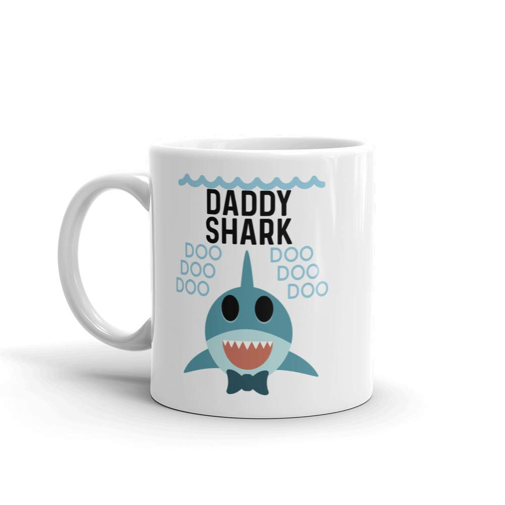 ''Shark Daddy'' Unique Ceramic Coffee Mug/Cup (11 oz.) - Birthday Father's Day Christmas Gift For Dad Father Grandpa