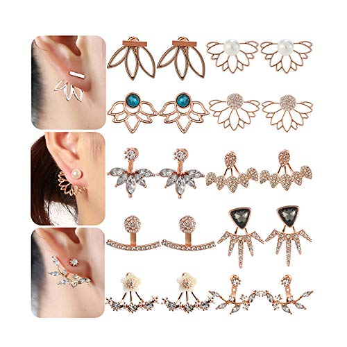 10 Pairs Ear Jacket Stud Lotus Flower Earrings for Women and Girls Set for Sansitive Ears Simple Chic Jewelry Girls (Earring Jacket Set)