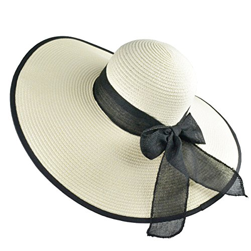 DRESHOW Floppy Beach Hat For Women Large Brim Straw Sun Hats Roll up Packable UPF 50+ (Ladies Large Brim Hats)