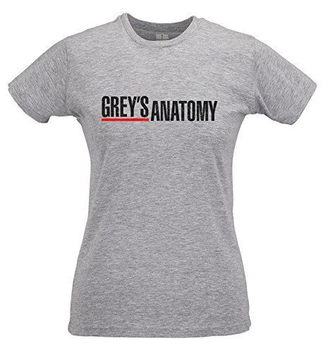 Serie Print Anatomy Lamaglieria Tv Ring Spun shirt Slim 100 Maglietta Black Cotone Donna Grey's T Grigio wCAqnwz0