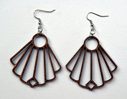 elegant-fan-shape-solid-wood-earrings-from-reclaimed-mahogany-or-black-stained-maple