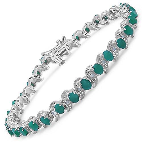 6,49 Carats Emerald pierres précieuses en 15.05 grammes Bracelet en argent sterling pour les femmes - Cadeau spécial pour l'anniversaire, anniversaire