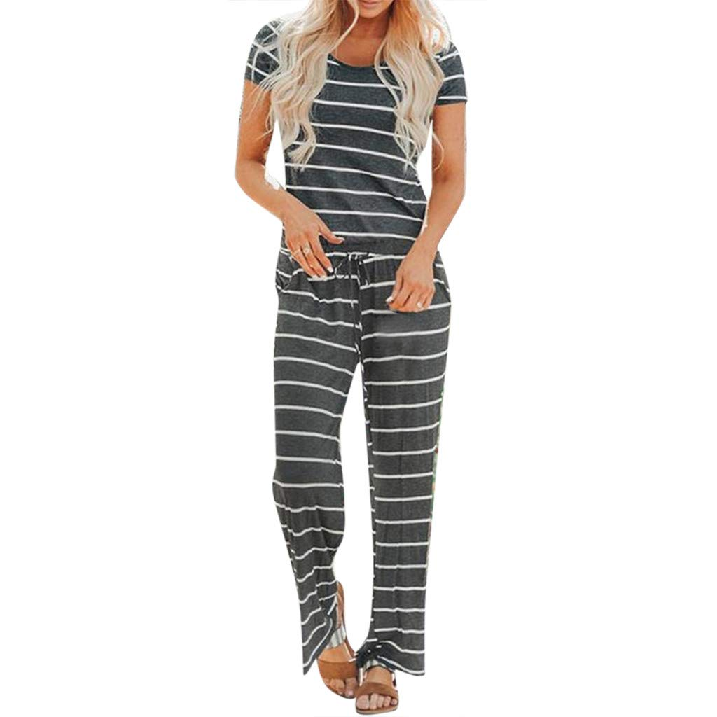 TOTOD 2019 New Women Stripe Jumpsuit Short Sleeve O-Neck Holiday Long Playsuits Basic Loose Drawstring Rompers Gray