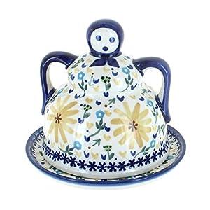 Blue Rose Polish Pottery Yellow Daisy Medium Cheese Lady