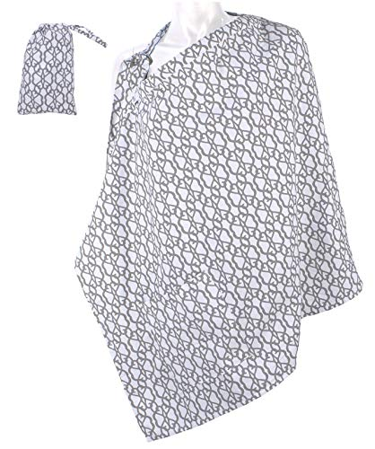 LK Baby Nursing Cover for Breastfeeding Privacy Soft 100% Cotton in Grey White ()