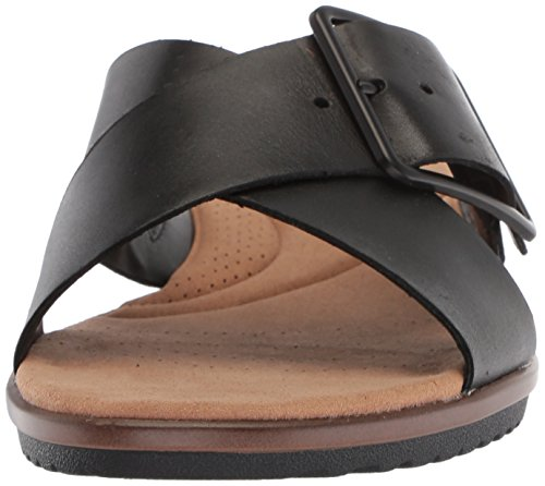 Black Sandals Leather Clarks Heather Kele Women's Flat CXxXwUPq