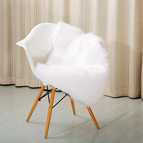 Reafort High Pile Super Soft Faux Sheepskin Rug, Faux Fur Rug, Area Rug, Chair Cover, Sofa Cover 20inx36in (White) (Rug Photo Faux Prop Fur)