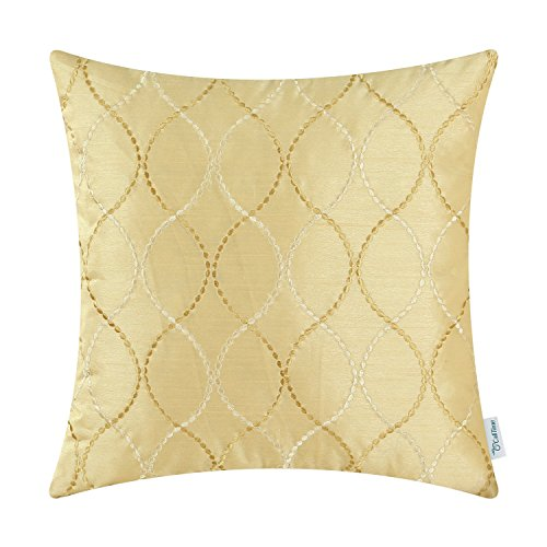 hrow Pillow Case Cover Sofa Couch Home Decoration Modern Waves Lines Embroidered 18 X 18 Inches Gold ()