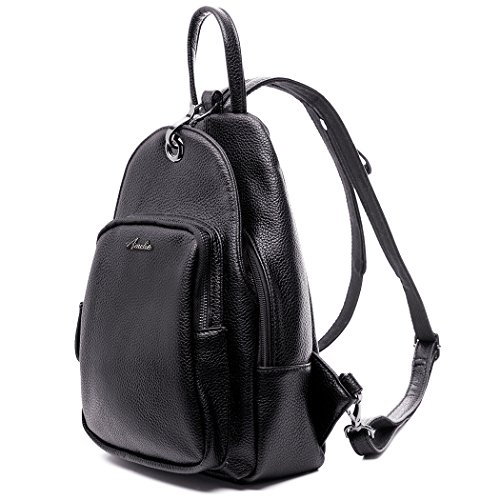 Women Backpack Purse, Small Shoulder Bag Lightweight School Travel PU Leather Purse with Convertible Shoulder Strap (Med Black Leather Purse)