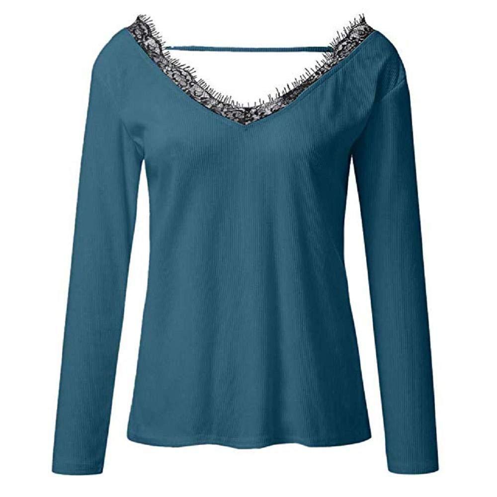 heidi bird Camiseta de Las Mujeres Oto/ño Invierno Color S/ólido Tallas Grandes Manga Larga Camisas Cuello en V B/ásica Blusas Casual Deporte Pullover Fiesta Hermoso Tops con Encaje