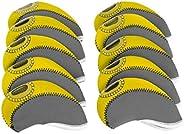 simhoa 10Pcs Neoprene Golf Club Iron Head Covers Headcover Case Set - Left/Right Handed