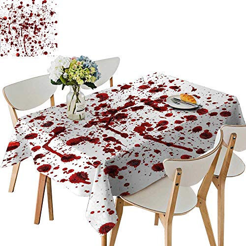 UHOO2018 Spillproof Fabric Tablecloth of Blood Style Bloodstain Horror Scary Zombie Halloween Themed Print Red White Square/Rectangle Washable Polyester,50x -