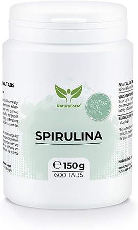 NaturaForte Espirulina en Tabetas de - 600 Tabletas de espirulina de alta dosis, Espirulina en polvo de algas sin aditivos, Vegana, Vitamina B12 y K, Superfood, Probado en laboratorio en Alemania: Amazon.es: