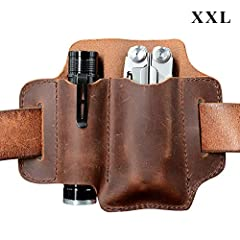 EDC Leather Organizer Belt Loop, Size XXL for Multitool / 5 Inch Knife and 1 Inch Wide Flashlight, EDC Leather Pouch, EDC Essential Carrier, Full Grain Leather. Chestnut.