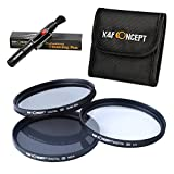 77mm Basic Filter Kit, K&F Concept UV Protection CPL Circular Polarizing ND4 Neutral Density ND Lens Filter Kit For Canon 24-105mm 24-70mm 70-200mm 17-40mm 17-55 10-22 100-400 Camera Lens + Filter Pouch + Cleaning Pen Accessory