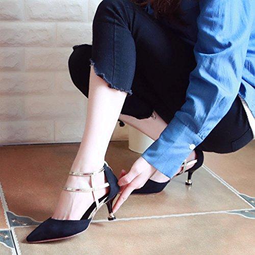 Xue Qiqi Gericht in der High-Heel Schuhe Frauen Schuhe Stilvolles Licht Spitze Schuhe Fein mit Rücken-RV Einzelne Schuhe Frauen