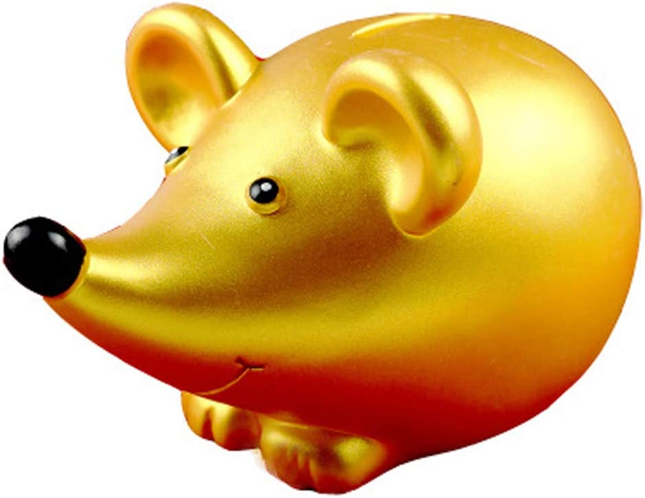 Piggy Banks, Golden Rat Long-Nosed Rat Mouse Coin Bank Kids Toy Bank Money Bank 2020 Chinese Zodiac Rat Year Mascot Keepsake Home Office Table Top Decor for Boy Girl Baby Kid Adult