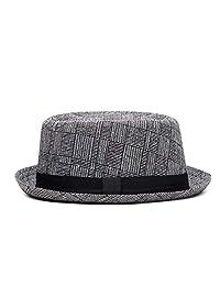 e5bfe2d42a9e9a ASO-SLING Men's Classic Upturn Brim Fedora Hats Casual Porkpie Hat Panama  Beach Sun Hat