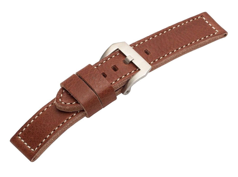 22 mm BrownヴィンテージPaneraiスタイルカーフスキンレザー腕時計バンド  B01N40BLR4