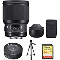 Sigma 85mm F1.4 DG HSM Art Canon (321954) with Sigma USB Dock for Canon Lens, Xit 60 Full Size Photo / Video Tripod & Sandisk 64GB Extreme SDXC Memory UHS-I Card w/ 90/40MB/s Read/Write