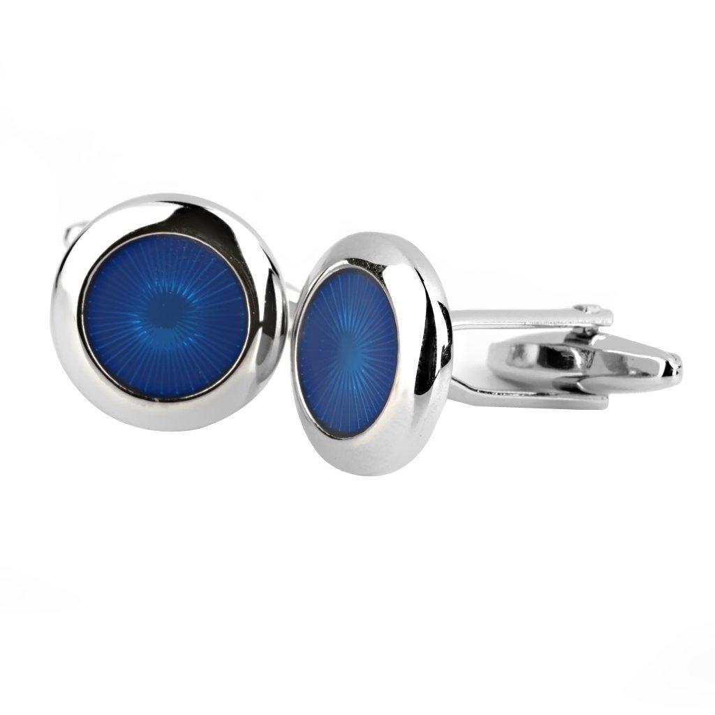 Vestido Radial Azul De La Camisa De Las Mancuernas Redondas Gemelos Regalo De Bodas 1 Par: Amazon.es: Joyería