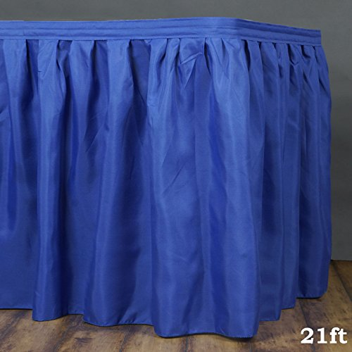 (LinenTablecloth 21 ft. Accordion Pleat Polyester Table Skirt Royal Blue)