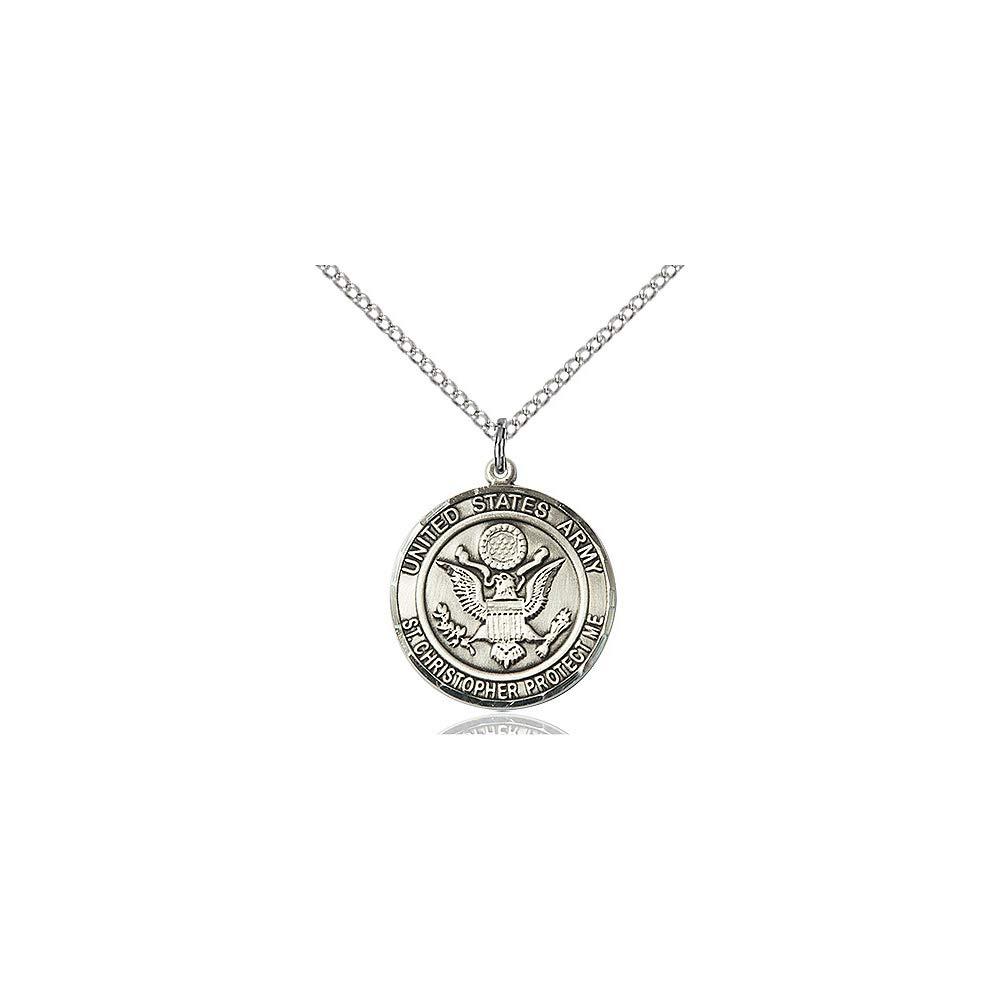 DiamondJewelryNY Sterling Silver Army//ST Christopher Pendant