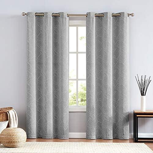 NATWIN Leaf Bedroom Grey Curtains 95inch Long Tonal Effect Room Darkening Floral Jacquard Window Draperies Set of 2 x 42 Width Grommet Top