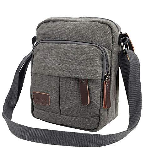7bd7054d12b1 Koolertron Men Shoulder Bag Small Retro Canvas Satchel Zipped Unisex Lightweight  Long Strap Crossbody Travel Messenger Bags for Phone iPad Mini (Grey