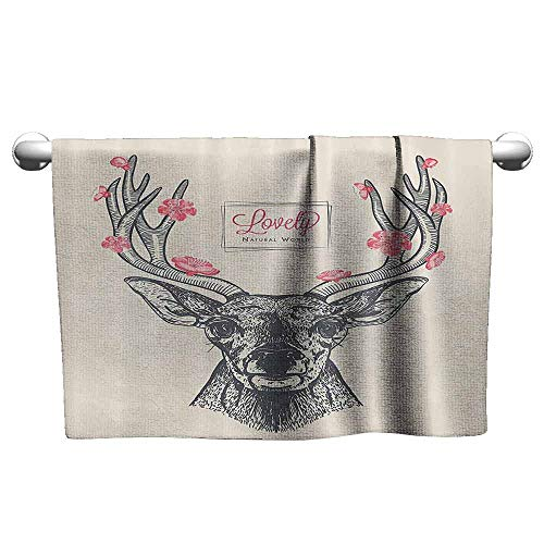 (Mannwarehouse Antlers Decor Collection Water-Absorbing Bath Towel Deer Head with Flowers Blooms Lettering Lovely Natural World Background Pattern W19 x L39 Gray Pink Ivory)