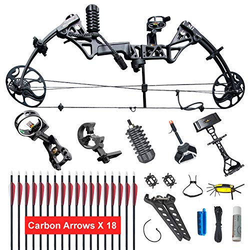 "XGeek Compound Bow,Compound Hunting Bow Kit, Right Handed Bow,Limbs Made in USA,19""-30"" Draw Length,19-70Lbs Draw Weight,Up to 320FPS, (2 Years Warranty) (Black)"