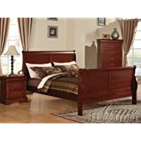 Acme 19517EK Louis Philippe III Eastern King Bed, Cherry Finish