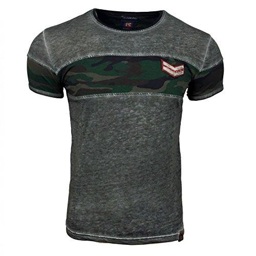 S M L XL XXL T Shirt Herren Anthrazit Polo Hemd Kurzarm Rundhals Avroni Neu WOW, Größe:S, Farbe:Anthrazit