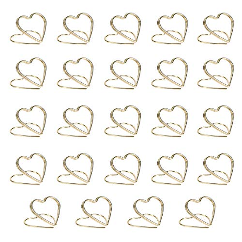 - AIEVE Table Card Holders,Place Card Holders Love Heart Shape Metal Card Holder Table Number Holders Photo Holder Pictures Stand Clips for Place Cards Wedding Anniversary Party Office Desk Name,24 Pack
