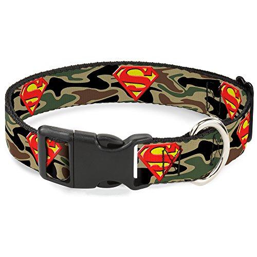 Buckle-Down Superman Shield Olive Plastic Clip Collar, Wi...