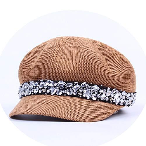 コットン メッシュ八角形の帽子 女性の帽子 夏 バイザーカジュアルキャップ クリスタルオクタゴンキャップ,褐色