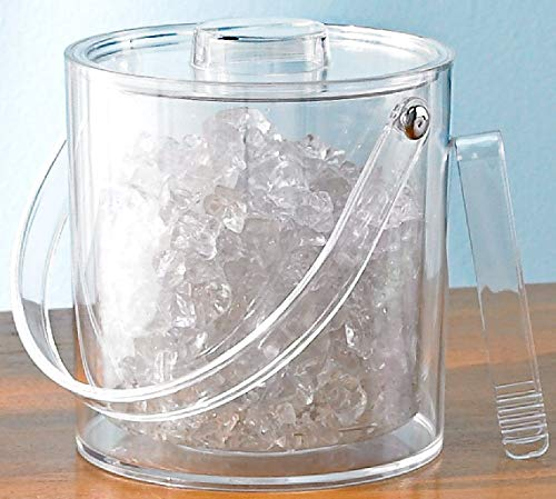 (Tropix Ice Bucket With Tongs and Lid 3 Quart Clear Acrylic Bar Accessory)